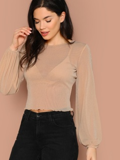 Blouson Sleeve Lettuce Trim Glitter Top Without Bra