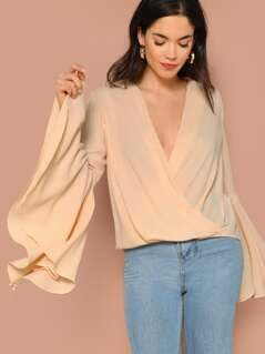 Exaggerate Flounce Sleeve Draped Surplice Top