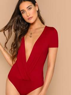 Plunging Neck Surplice Wrap Bodysuit