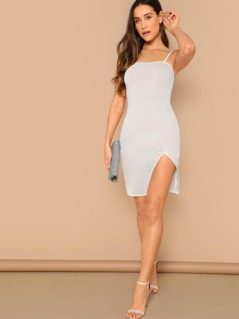 Ruched Split Hem Glitter Cami Dress
