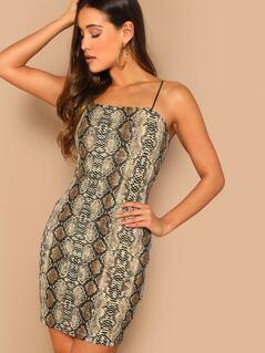 Snakeskin Print Bodycon Cami Dress