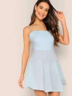 Frill Trim Fit & Flare Cami Dress