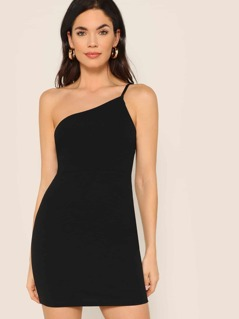 One Shoulder Bodycon Solid Dress
