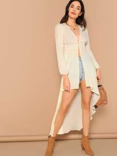 Shirred Waist Semi Sheer Dip Hem Kimono