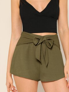 Bow Tie Waist Solid Shorts