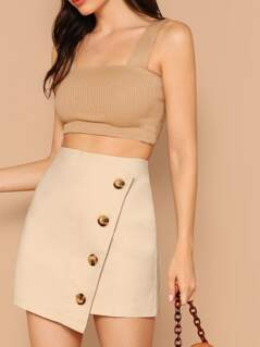 Button Detail Wrap Skirt
