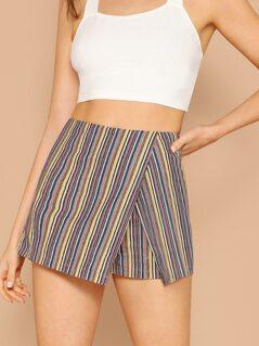 Back Zipper Striped Wrap Detail Skort Shorts