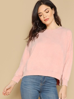 Round Neck Banded Edges Back Cut Out Sweater Top