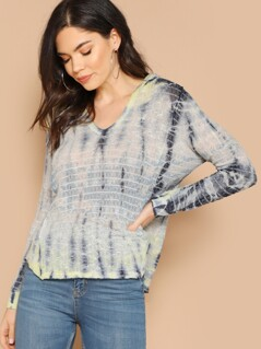 Tie Dye Split Side Hooded Long Sleeve Knit Top