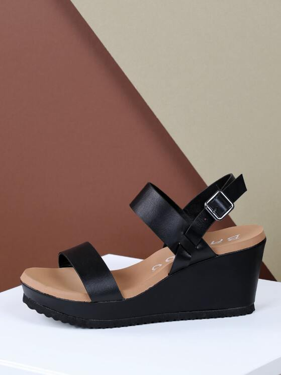 ebfe194d031 Double Band Slingback Strap Platform Wedges