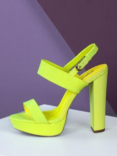 Neon Double Band Slingback Platform Chunky Heels