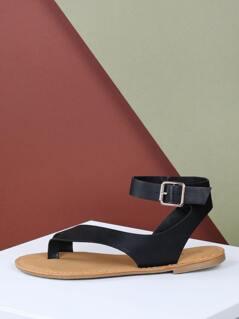 Toe Loop Asymmetric Buckle Ankle Strap Sandals