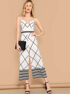Sweetheart Neck Striped And Checked Cami Jumpsuit