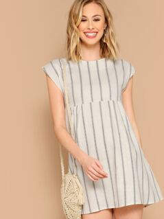 Round Neck Striped A-Line Babydoll Mini Dress