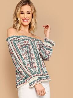 Off Shoulder Puff Sleeves Scarf Print Blouse
