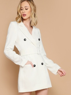 Double Breasted Belted Waist Mini Blazer Dress