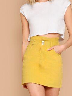 Ruffle Waist Twill Denim Pencil Mini Skirt
