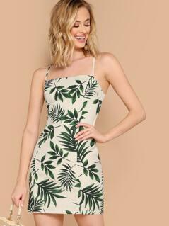 Straight Neck Tropical Leaf Sleeveless Linen Dress