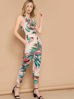 V-Neck Crop Tropical Leaf Top And Skinny Pants Set