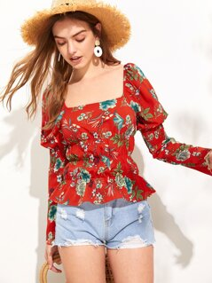 Puff Sleeve Smocked Panel Floral Top