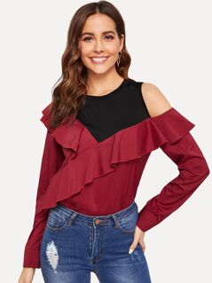 2 In 1 Cold Shoulder Ruffle Top