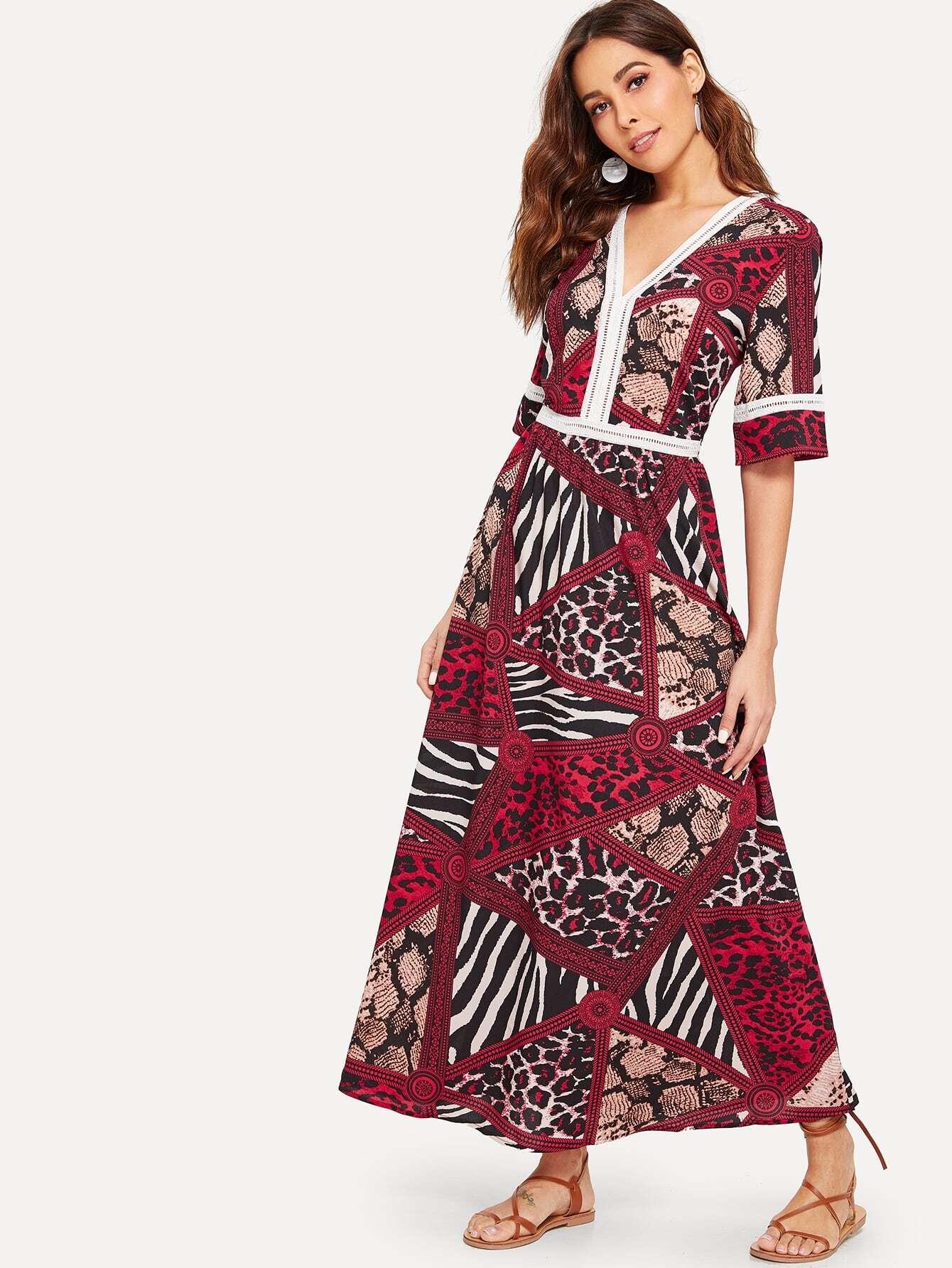 Купить Платье с кружевной вставкой и модным принтом, Giulia, SheIn