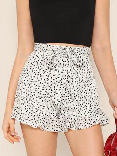 Waist Belted Leopard Print Shorts