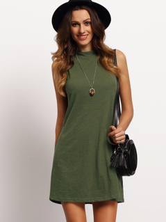 Blackish Green Mock Neck Sleeveless T-shirt Dress