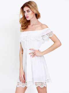 White Off The Shoulder Boho Dress