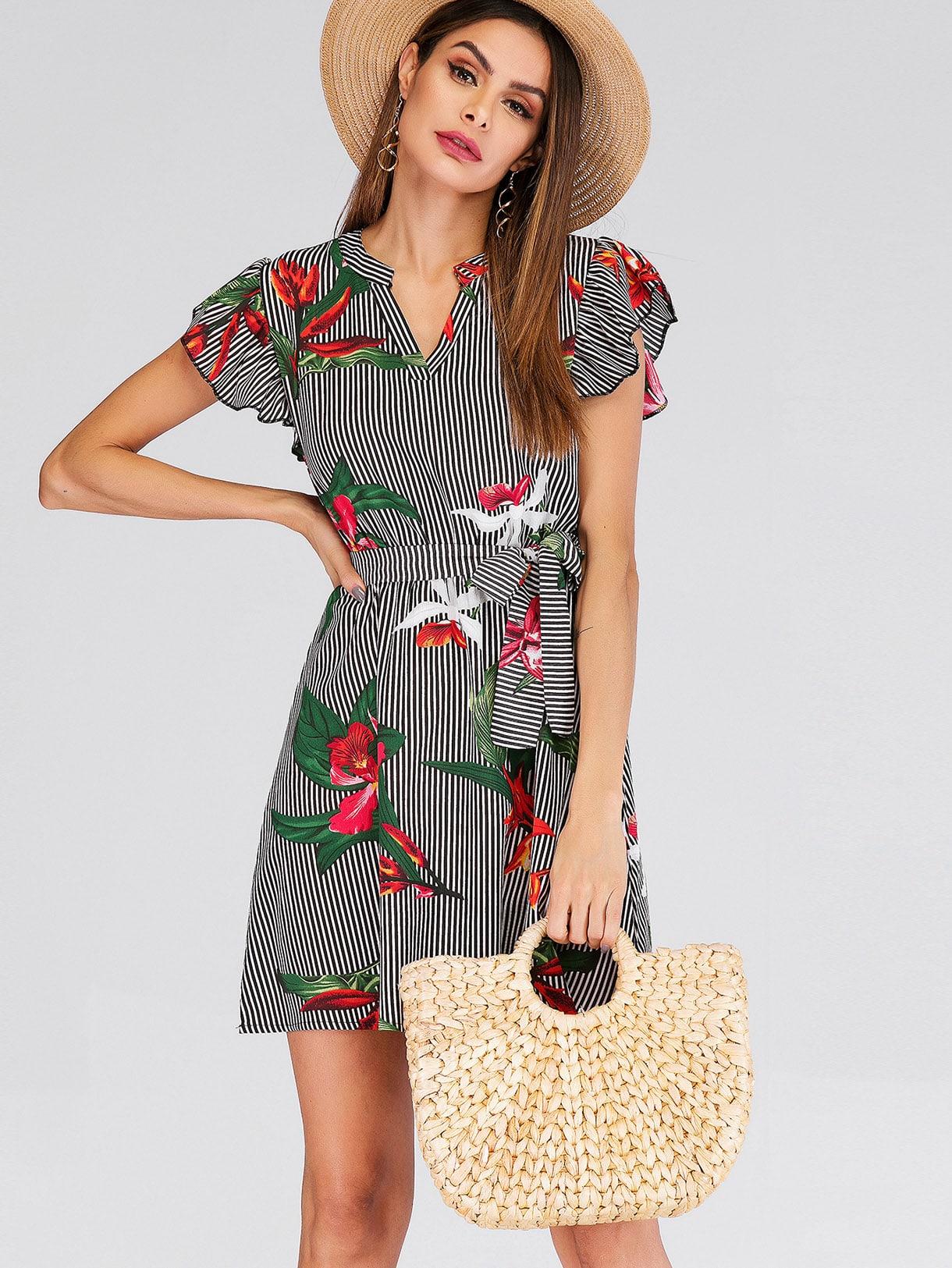 Купить Полосатое платье с поясом и цветочным принтом, Andy, SheIn