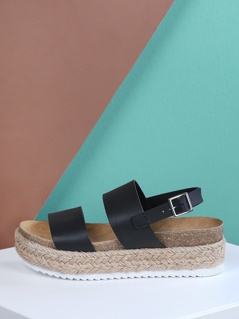 Double Band Cork Footbed Espadrille Platform Wedge Sandals BLACK