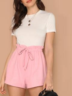 Elastic Paperbag Waist Side Pockets Linen Shorts