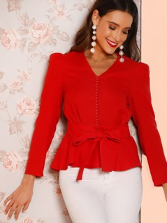 Button Detail Knot Peplum Top