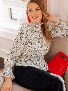 Ruffle Trim Shirred Dalmatian Peplum Top