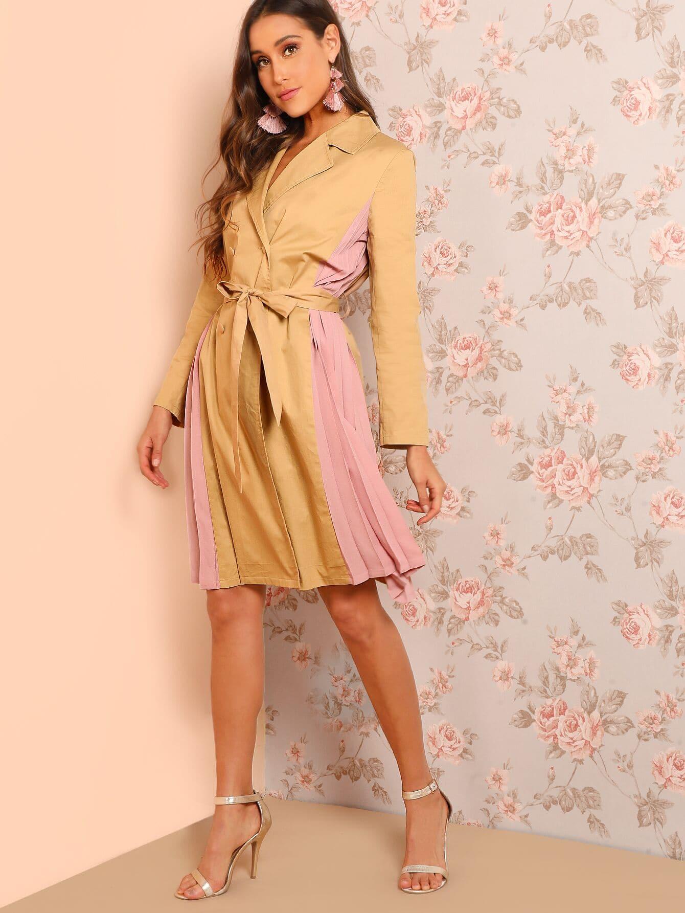 Купить Двухцветное пальто в складку с разрезом на воротниках, Anna Herrin, SheIn