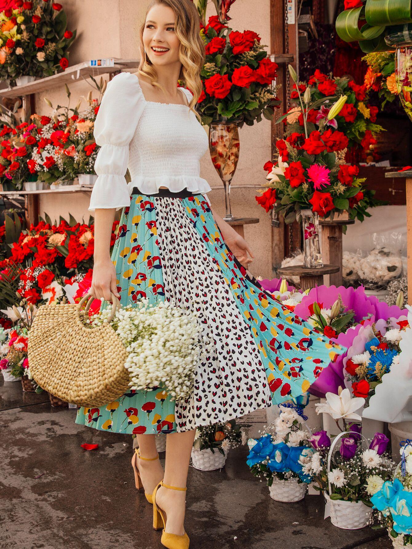 Купить Юбка со складками и леопардовым цветочным принтом, Zorana, SheIn