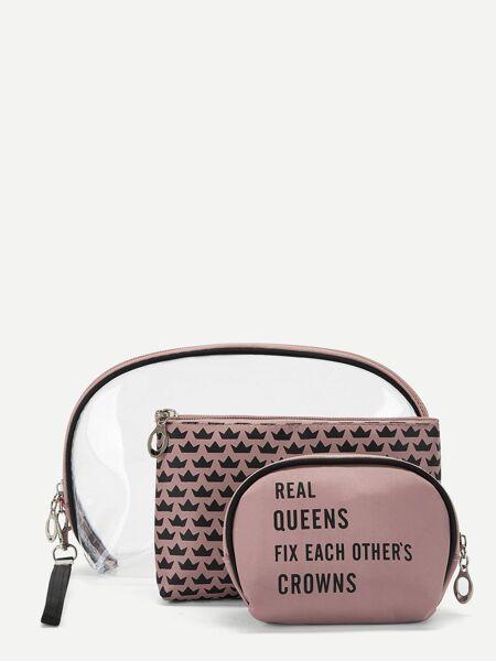 Letter & Crown Pattern Makeup Bag 3pack