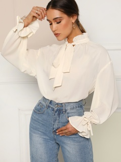 Tied Frill Neck Flounce Sleeve Top