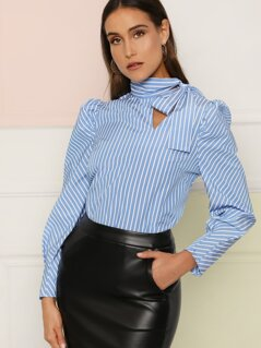 Bow Tie Neck Puff Sleeve Striped Top