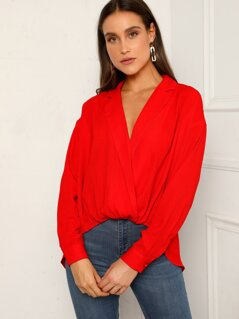 Cross Draped Dip Hem Top
