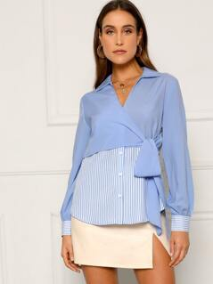 Wrap Knot Front Curved Hem Striped Shirt