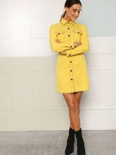 Flap Pocket Front Contrast Stitch Shirt Dress