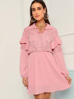 Eyelash Lace Trim Lantern Sleeve Dress