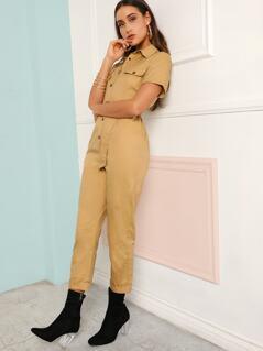 Slant Pocket Buckle Belted Shirt Jumpsuit