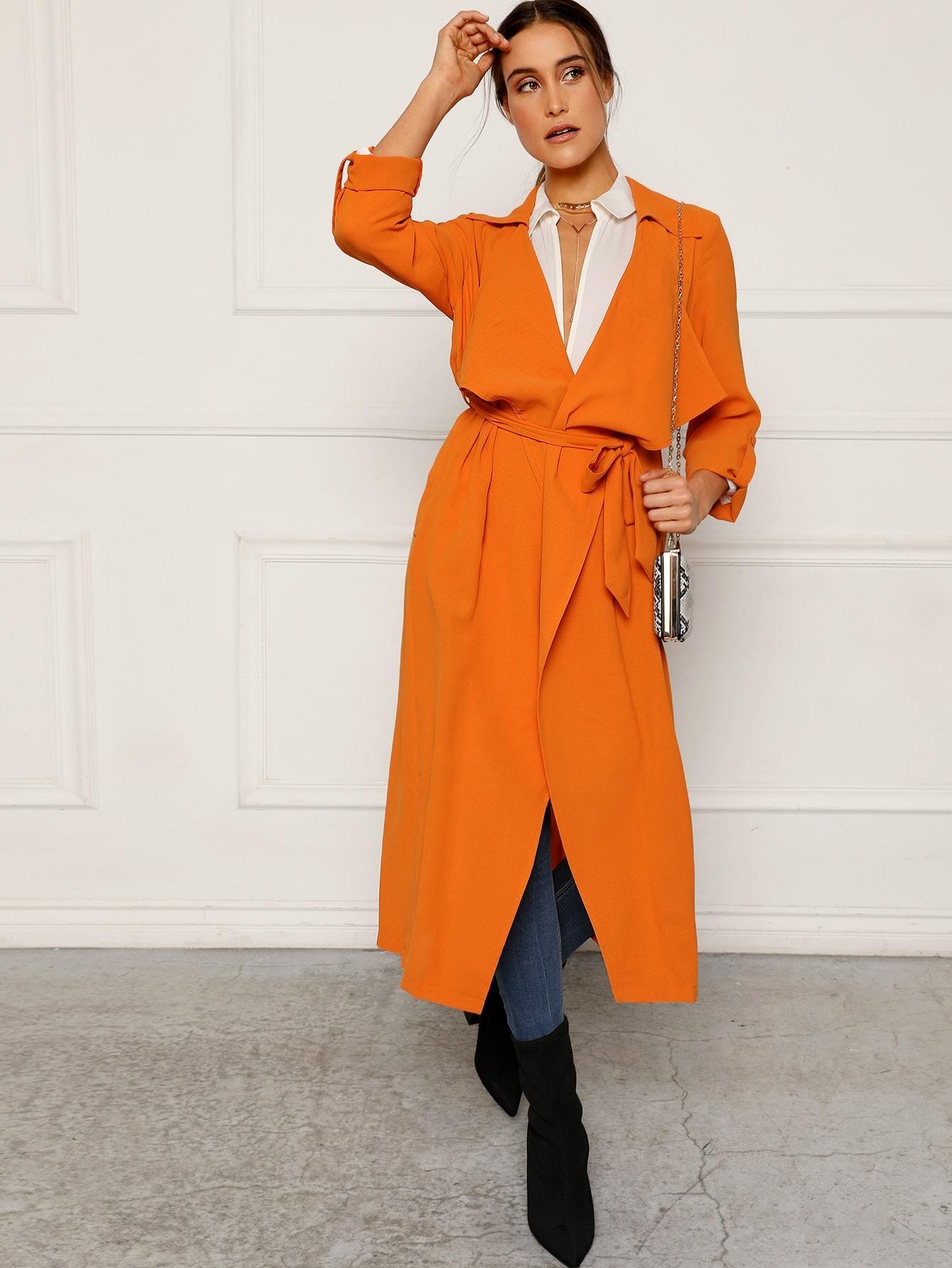 Пальто с поясом и оригинальным рукавом и каскадным воротником SheIn