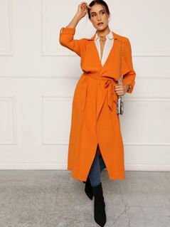 Draped Collar Roll Tab Sleeve Belted Coat