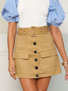 Buckle Belted Button Up Skirt