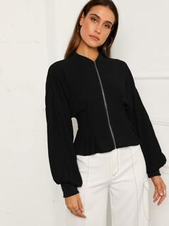 Lantern Sleeve Zip Up Peplum Jacket