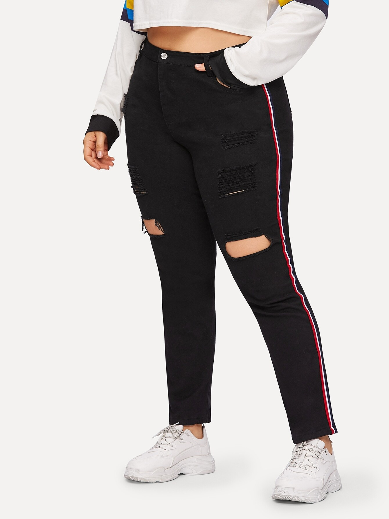 Купить Размера плюс рваные джинсы с полосками, Franziska, SheIn