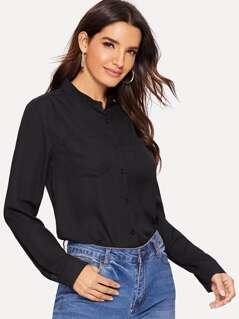 Pocket Front Solid Shirt